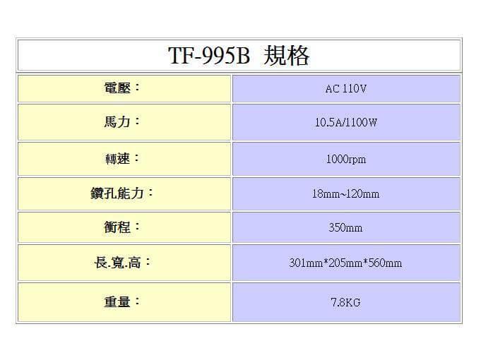 TF-995B,鑽孔機
