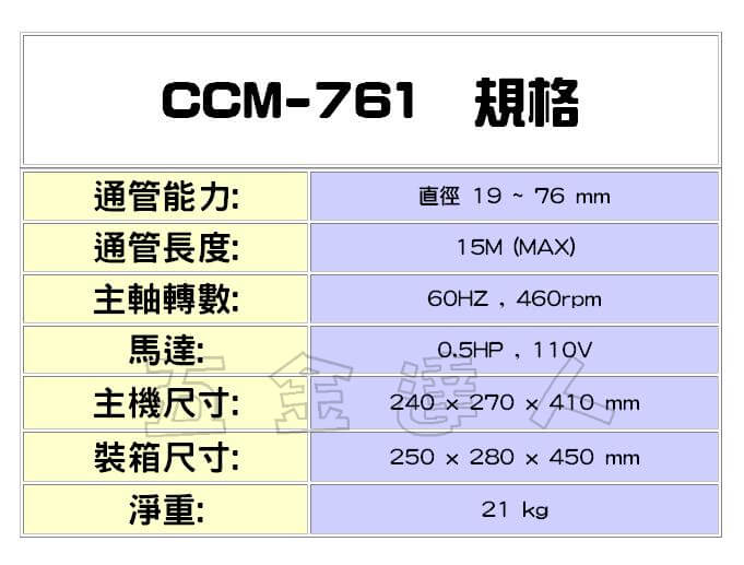 CCM-761規格,五金工具,通管機