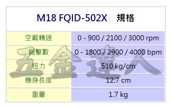 M18 FQID-502X規格,五金工具,起子機