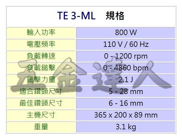 TE3-ML規格,五金工具,鎚鑽