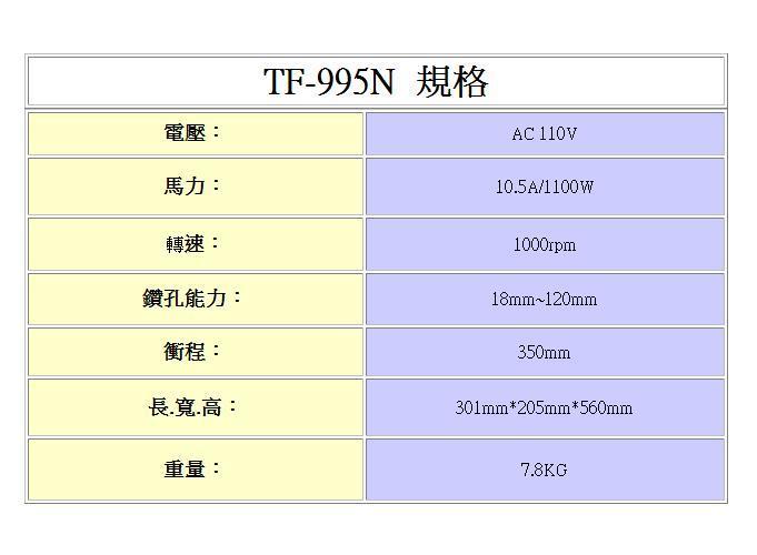 TF-995N規格,五金工具,鑽孔機