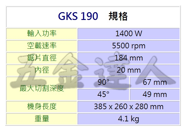 GKS190 2,圓鋸機,五金工具