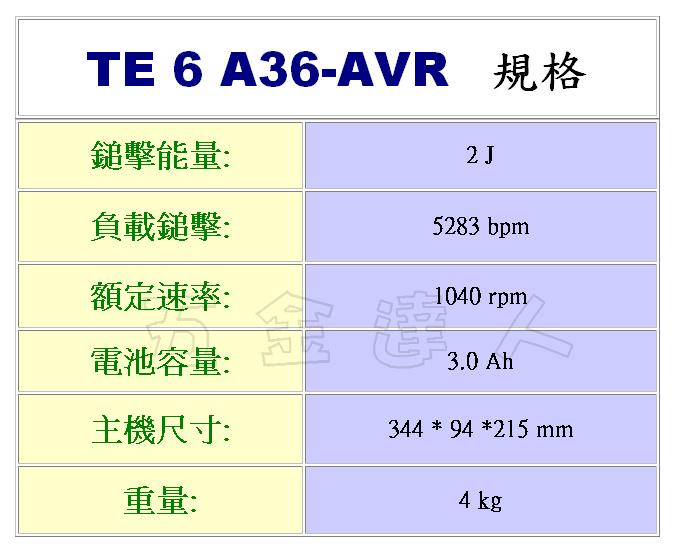 TE6-A36-AVR 2,充電鎚鑽,五金工具