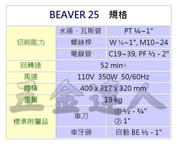 "BEAVER25 2,1""車牙機,五金工具"