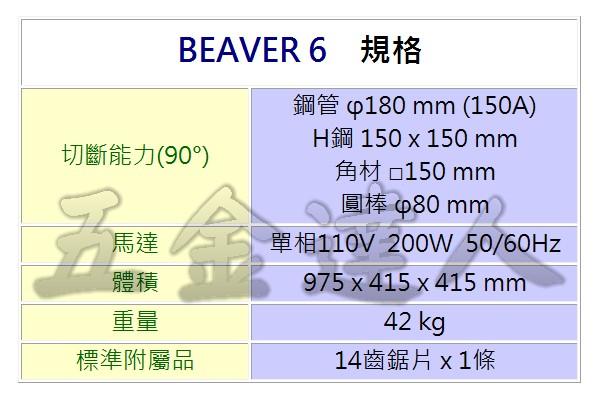 """BEAVER6 2,6""""鏈夾型帶鋸機,五金工具"""