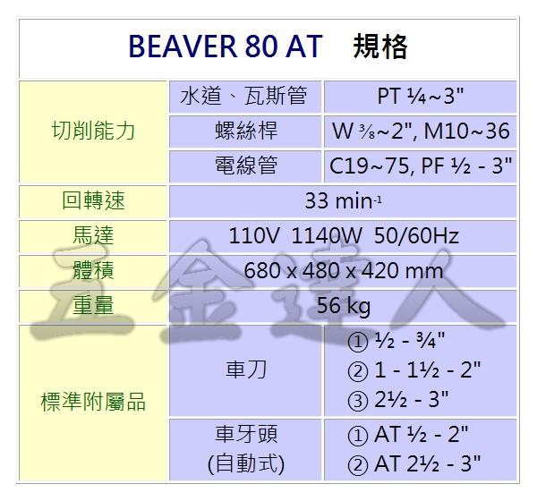 """BEAVER80 AT 2,3""""車牙機,五金工具"""