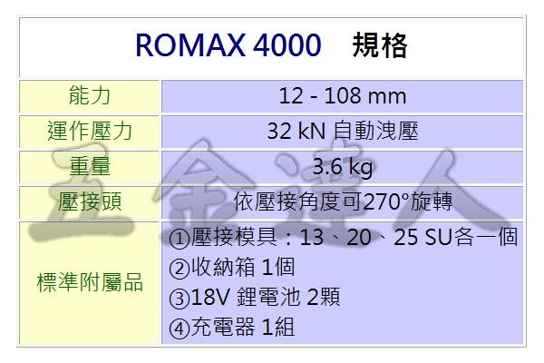 ROMAX 4000 2,充電式不銹鋼管壓接機,五金工具