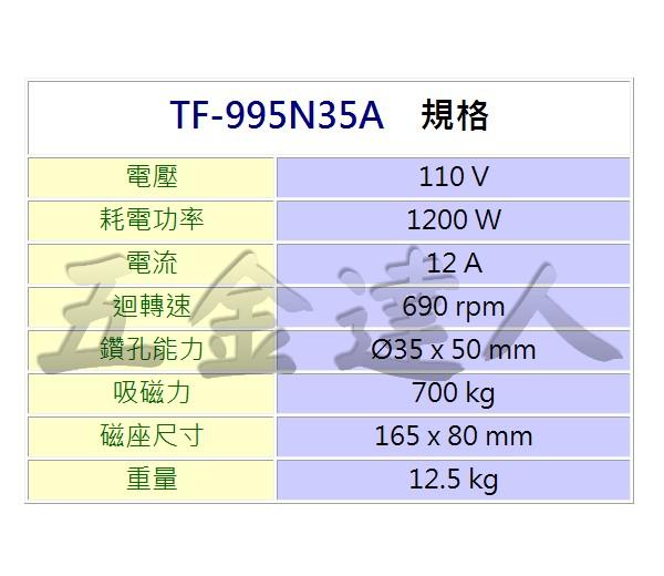 TF-995N35A 2,35mm磁性鑽床,五金工具